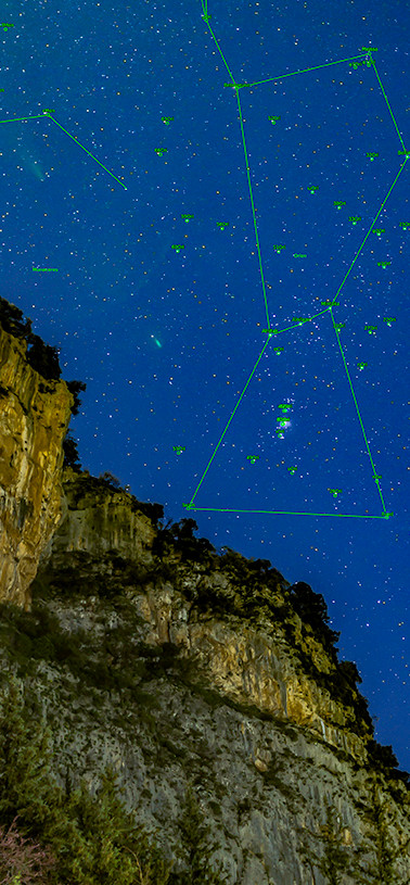 Orion above the mountains of Greece