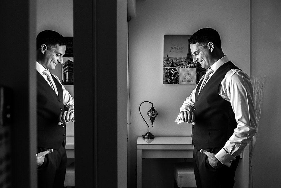 Groom Picture as he is getting ready