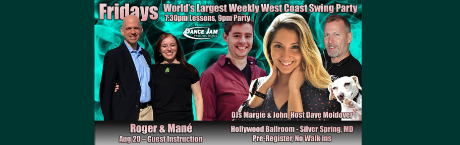 We are teaching tonight, Friday, August 20, 8:15-9 pm, at Hollywood Ballroom! Let's Dance!