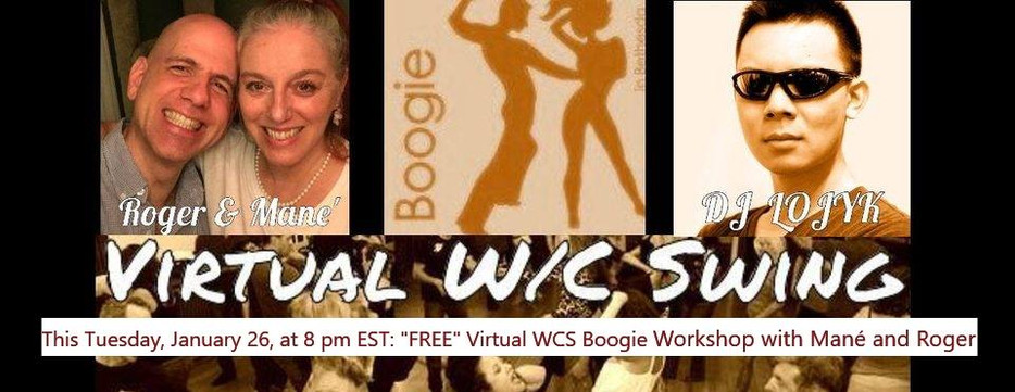 This Tuesday, January 26, at 8 pm, a Free All-level Solo Virtual WCS Workshop! Join Us!