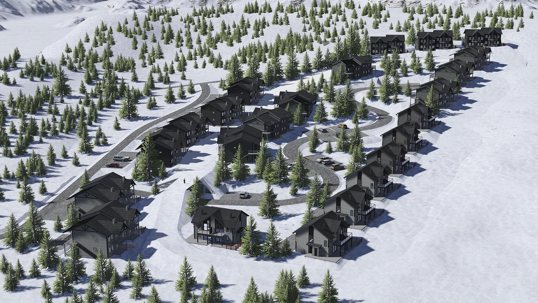 Ski-in-ski-out läge vid barnbackarna