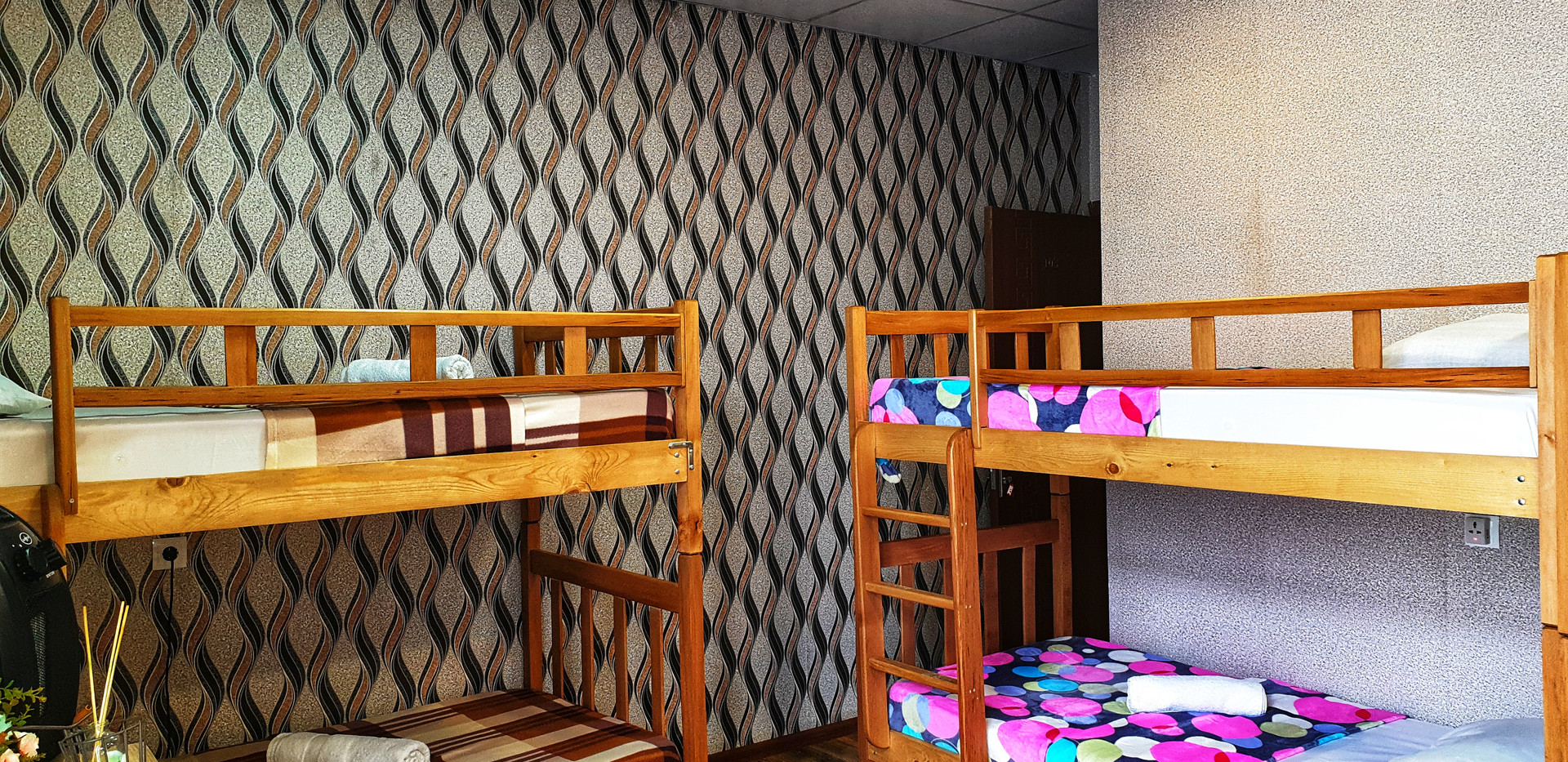 hostel type with bunk beds