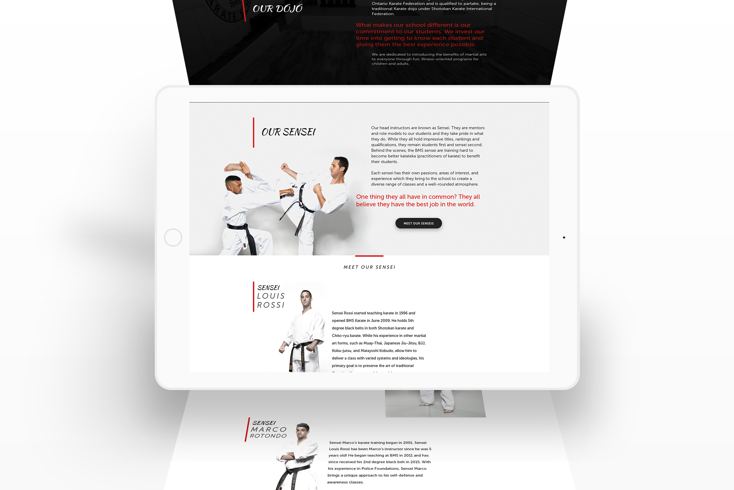 Website Interface Karate