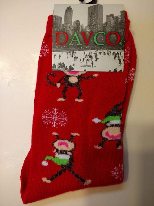 DAVCO CHRISTMAS MONKEYS WOMEN'S CREW