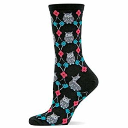 HOT SOX OWL AND FLOWERS WOMENS CREW