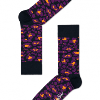 HAPPY SOCK BLACK PURPLE ORANGE PATTERN MEN'S CREW