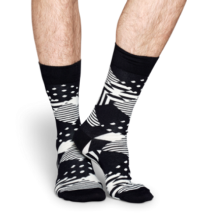 HAPPY SOCKS MULTI ARGYLE BLACK WHITE MEN'S CREW