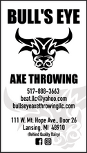 Bull's Eye Axe Throwing Business CardFront