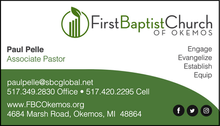 First Baptist Church of Okemos Business Card Front
