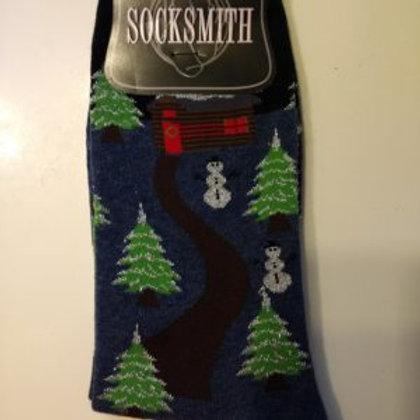 SOCKSMITH CHRISTMAS LOG CABIN WOMEN'S CREW