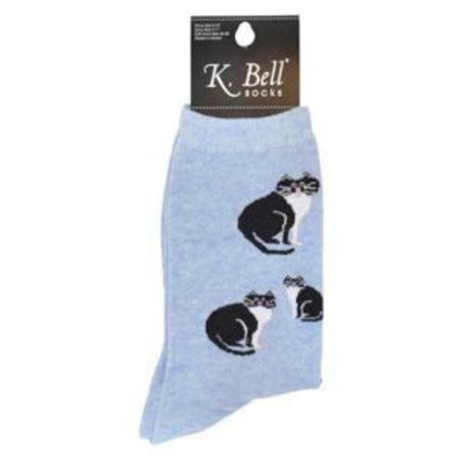 K. BELL BLACK AND WHITE CATS WOMEN'S CREW