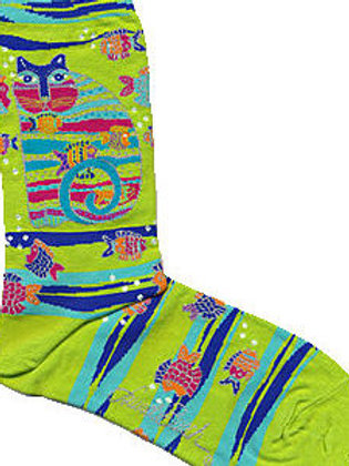 LAUREL BURCH CAT AND FISH WOMEN'S CREW