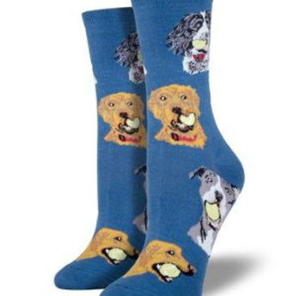 SOCKSMITH DOG WITH BALL WOMEN'S CREW