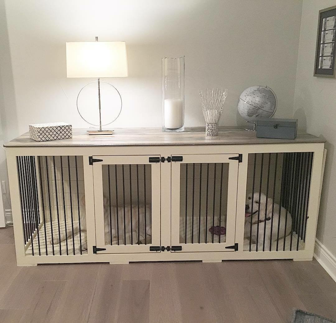 Custom Dog Crate Cabinet by EB Companies