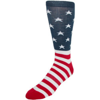 K. BELL MEN'S COTTON AMERICAN FLAG CREW SOCK