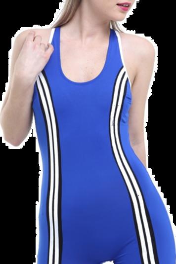Şeritli Şortlu Yüzücü Mayo
