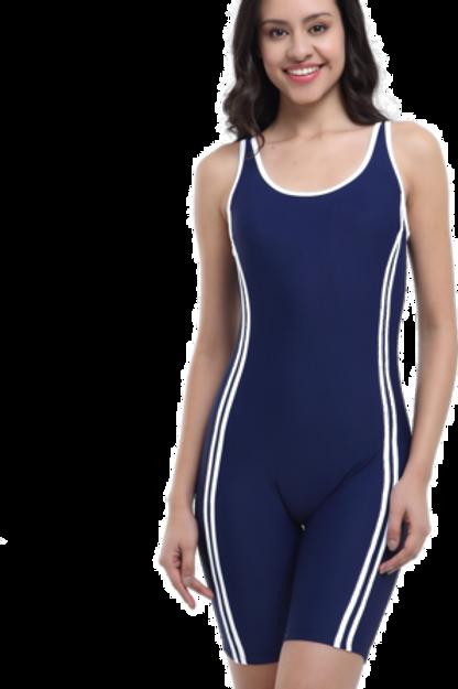 Uzun Şortlu Şeritli Yüzücü Mayo