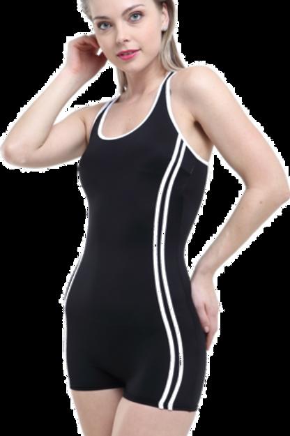 Şortlu Şeritli Battal Yüzücü Mayo