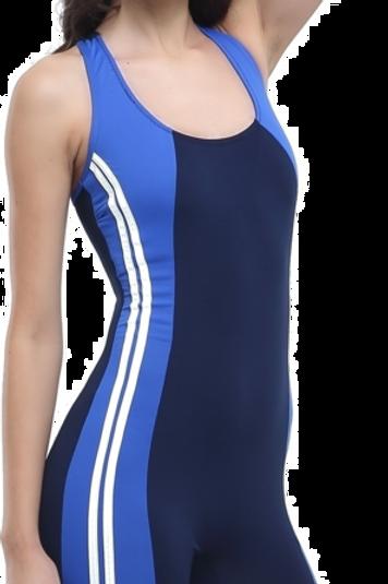 Uzun Şortlu Modelli Şeritli Yüzücü Mayo