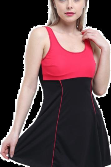 Parçalı Biyeli Düz Elbise Battal Mayo