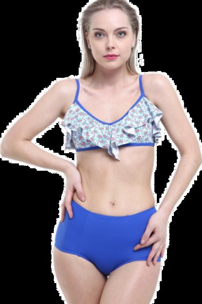 Desenli Yüksek Bel Fırfırlı Bikini