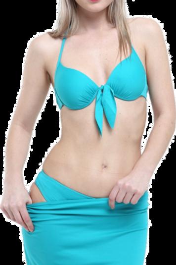 Düz Fiyonklu Etekli Bikini