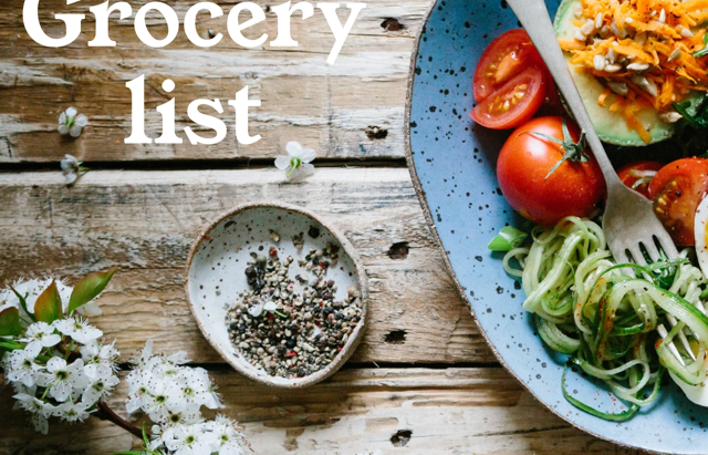 Grocery shopping list - Week of April 19th 2020