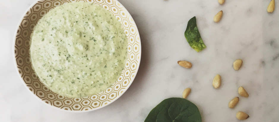 Spinach, feta and pine nut dip