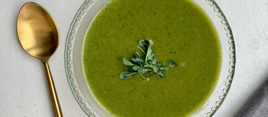 Spinach, leek & potato soup