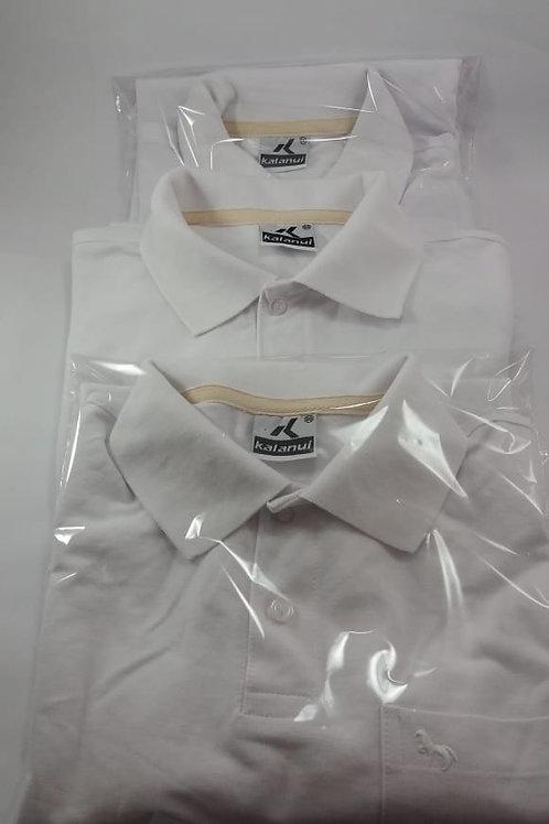 Lote Camisas Pólo Com 3 Unidades  Lisa Branca Com Bolso Kalanuí