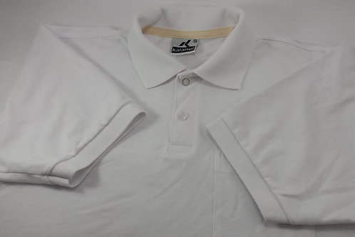 Camisa Polo Pique  Lisa Branco/ Branca Com Bolso Kalanuí