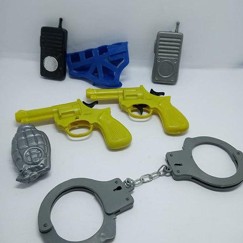 Kit Infantil Armas, Algemas E Rádio Com Defeito