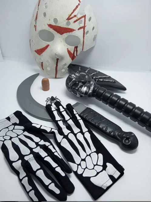 Kit Halloween Máscara Jason, Foice, Machado E Luvas