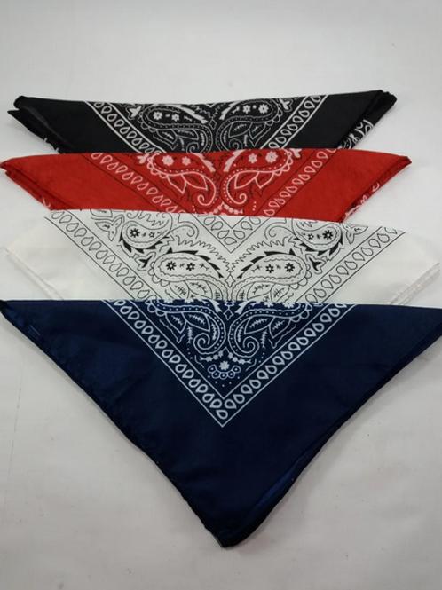 Kit com 4 Bandanas Lenço Azul, Vermelho, Branco, Preto Algodão
