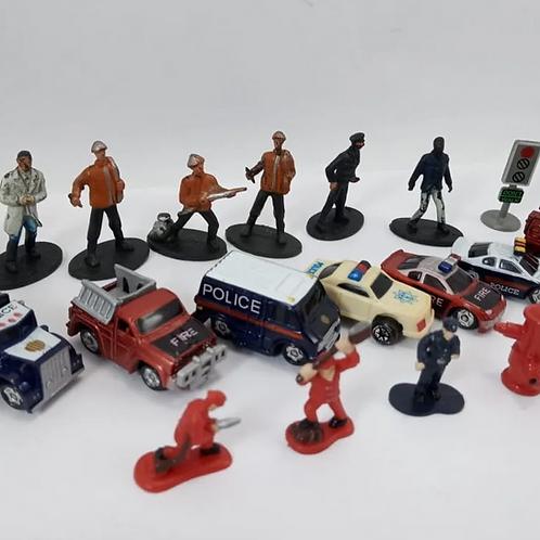 Coleção 15 Miniaturas Carro De Polícia E Bombeiro