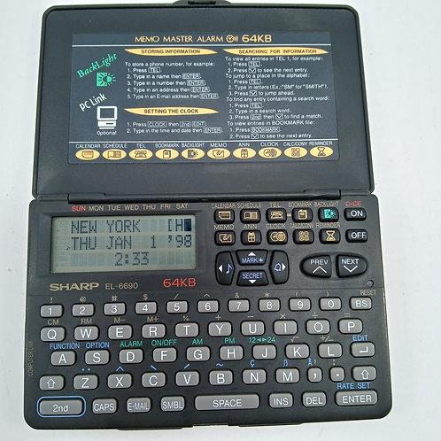 Agenda Eletrônica Sharp El-6690 64kb Organizador E Calculadora