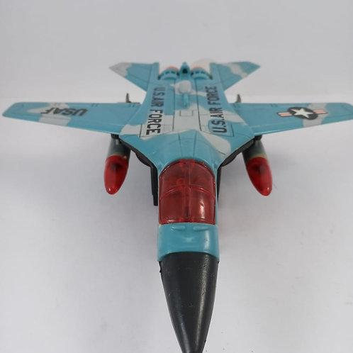 Avião Mini Caça Abre As Asas A Pilha Azul 22cm