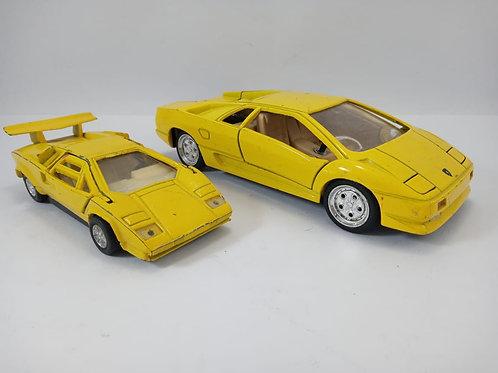 Miniaturas Carro Lamborghini Amarelo Com 2