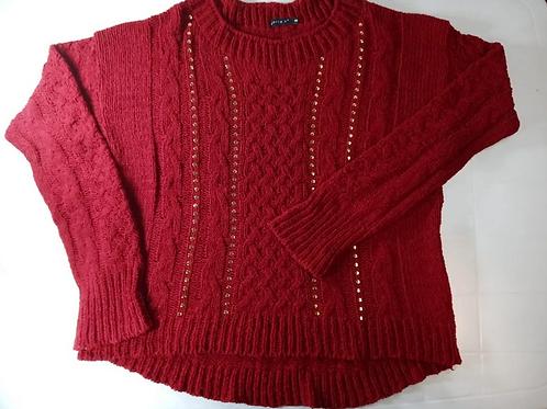 Blusa De Lã De Tricô Trabalhado Vermelho Tam. G