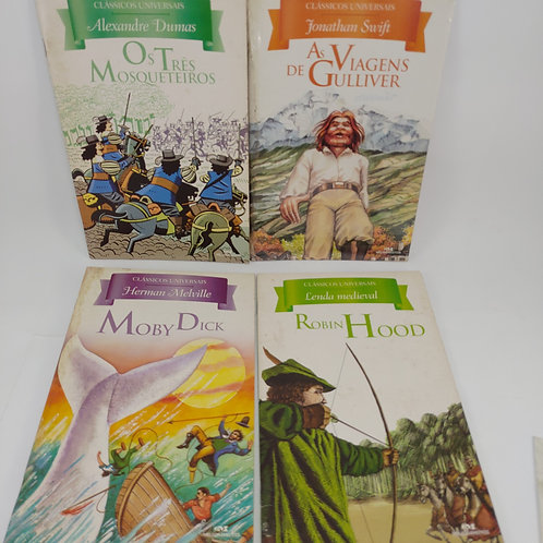 Livros Com 4 Moby Dick, Hobbin Hood, As Viagens De Gulliver