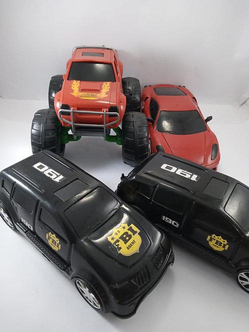Lote de Carros Grande De Plástico 4 Peças