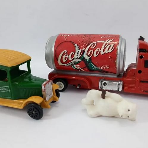 Mini Caminhões Coca-cola Com 2 Antigos
