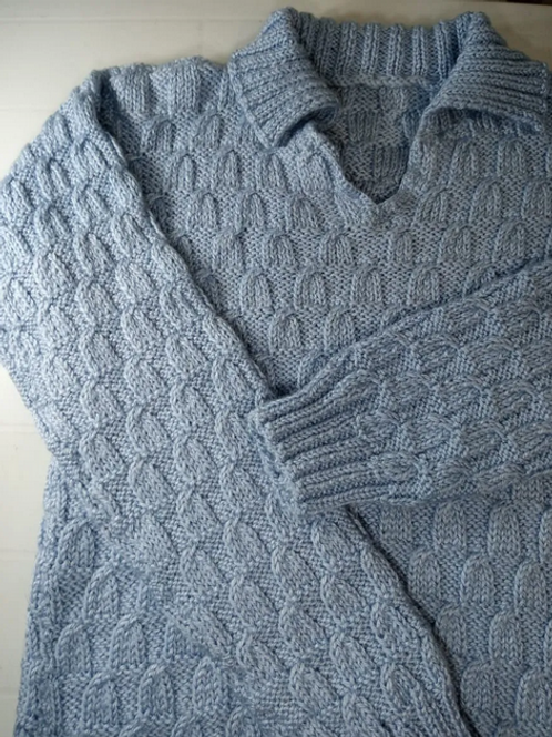 Blusa De Lã Tricô Trabalhado Azul Unissex