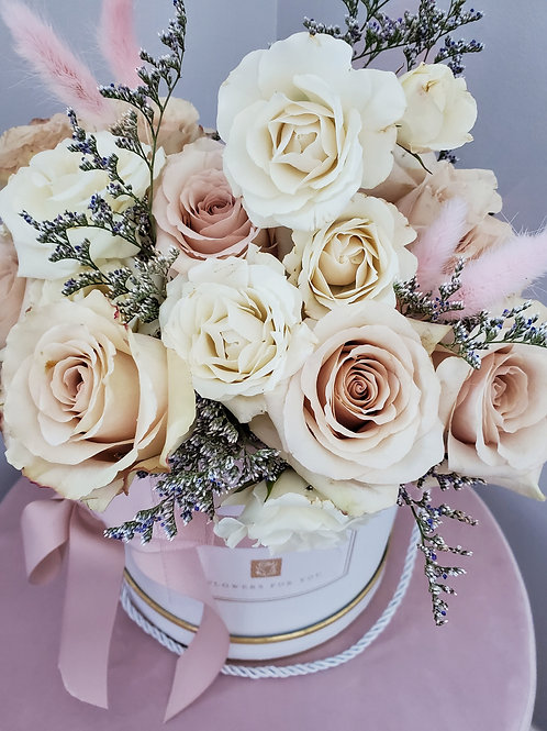 D Classy Blush & White Box ( 25 roses  - Deluxe size)