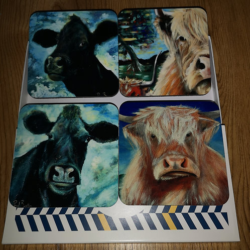 Cow coasters. Set of 4 in box