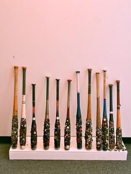 BUTTON BATS, 1993, (remade 2015), baseball bats, tar, buttons