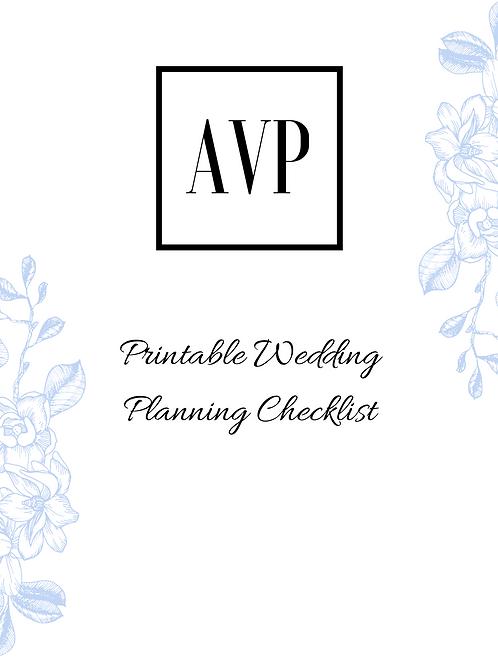 Downloadable Printable Wedding Planning Checklist