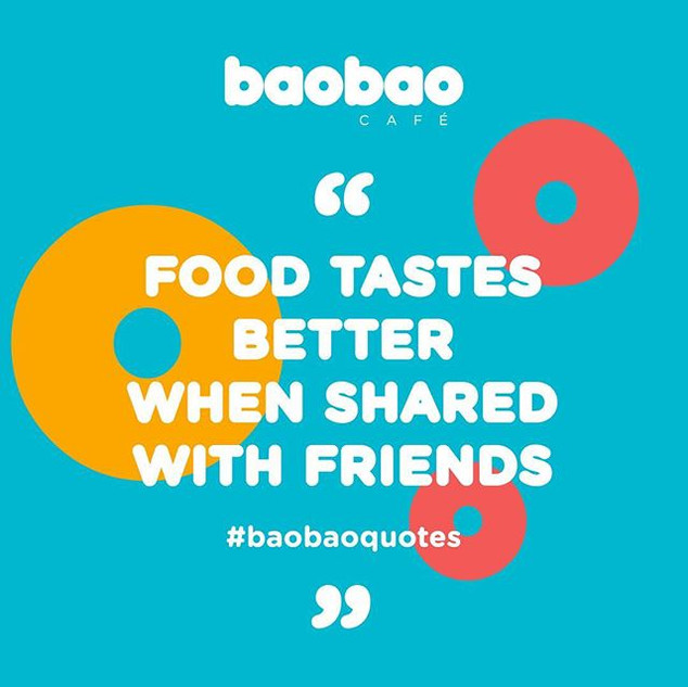 """""""Food tastes better when shared with fri"""