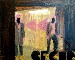 Bunkers Bouncers.Oil and Card on Canvas.45cmx40cm.2011