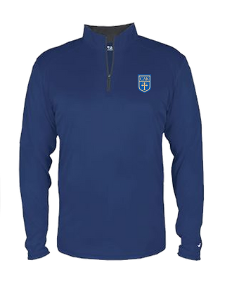 ADULT NAVY Dri-Fit 1/4 Zip Embroidered Shield